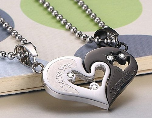 Stainless Steel Men Women Couple Necklace Pendant Love Heart CZ Puzzle Matching,Silver and Black Tone