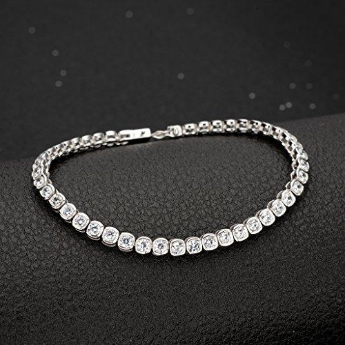 925 Sterling Silver CZ Channel-Set Round Cut Tennis Bracelet Chain Clear