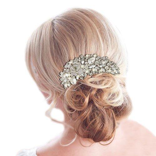 5 Inch Wedding Rose Simulated Pearl Hair Comb Clear Austrian Crystal