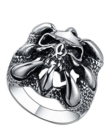 Stainless Steel Gothic Dragon Claw Skull Ring