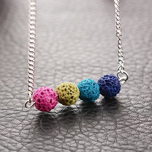Multicolor Stone Lava Bead Minimalist Essential Oil Diffuser Necklace Aromatherapy Jewelry - InnovatoDesign