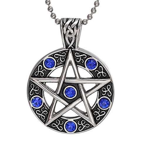 Stainless Steel Blue CZ Pentagram Pentacle Necklace