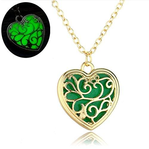 Gold Color Openwork Glow in the Dark Green Heart Pendant Necklace