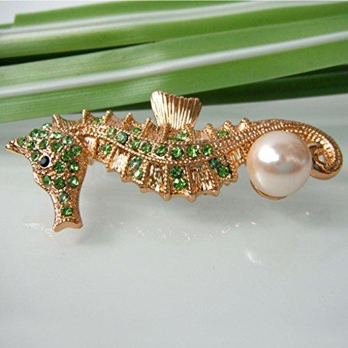 18k Gold Plated Green Crystal Sea Horse Az7381b Brooch pin