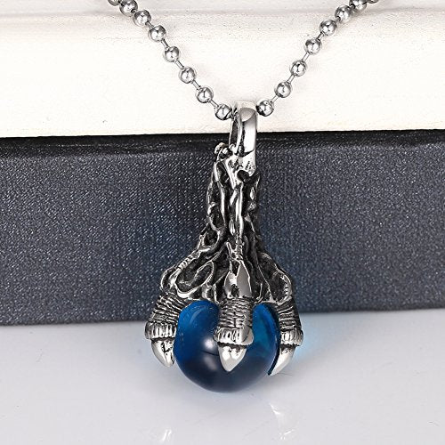 Men's Stainless Steel Pendant Necklace Blue Agate Dragon Claw Ball Gothic with 24'' Chain