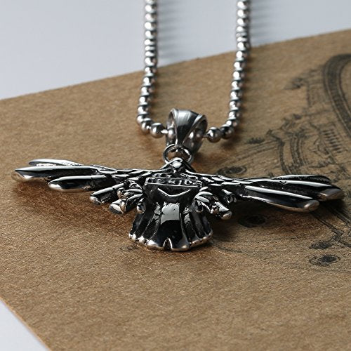 Men's Stainless Steel Silver Black Animal Eagle Gothic Pendant Necklace 24''chain
