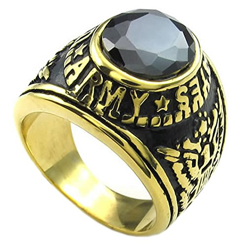 Men CZ Stainless Steel Ring, Eagle Hawk US ARMY, Black - InnovatoDesign