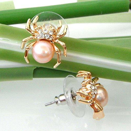 18k Gold Plated Light Pink Ball Crystal Spider Az2563s Stud Earrings
