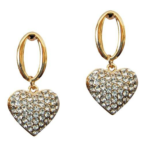 18k Gold Plated Oval Heart White Crystal Az1131d Drop Dangle Earrings