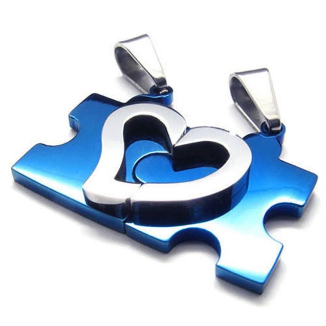 2pcs Men Women Couples Heart Puzzle Stainless Steel Pendant Love Necklace, 18 & 22 inch Chain
