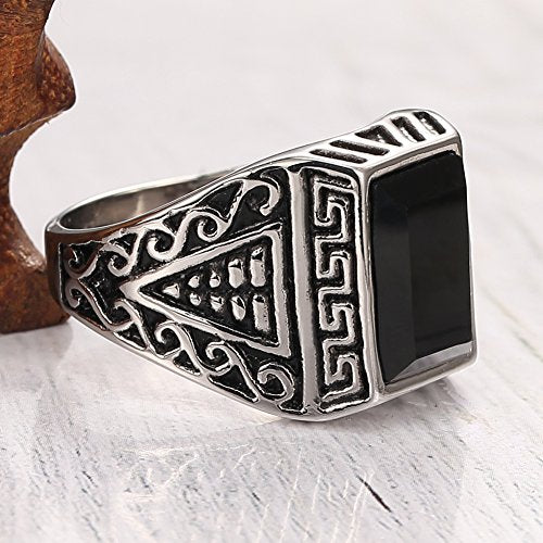 Men's 316l Stainless Steel Ring Agate Silver Greek Engraved Vintage