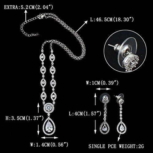 Crystal CZ Bridal Eye-Shaped Tear Drop Pendant Jewelry Set Silver-Tone