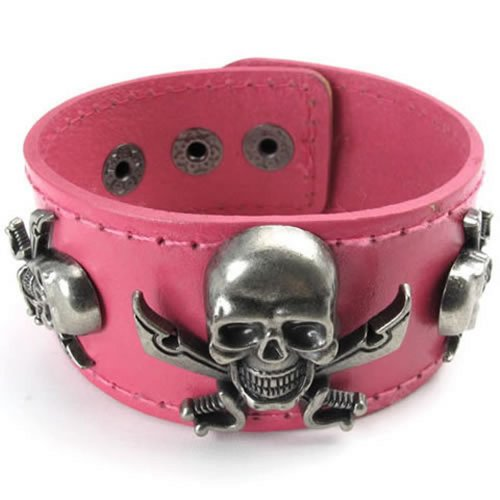 "Wide Leather Pirate Skull Bangle Women Cuff Bracelet, Fits 7"" to 8"", Pink Brown - InnovatoDesign"