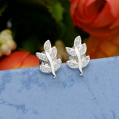 925 Sterling Silver Cubic Zirconia Olive Leaf Daily Casual Stud Earrings Clear