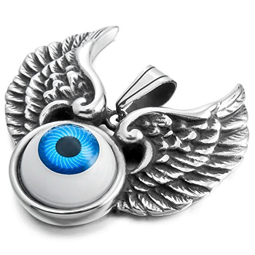 Silver-Tone White Evil Eye Angel Wing Stainless Steel Pendant Necklace