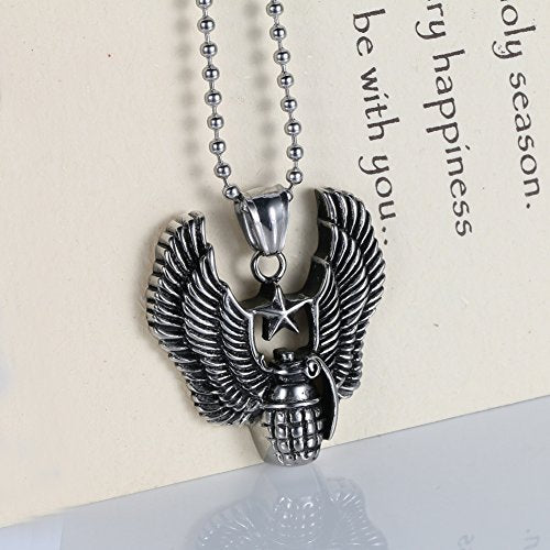 Men's Stainless Steel Stanretro Vintage Eagle Wings Grenade Charm Pendant Necklace ,Silver Black,24