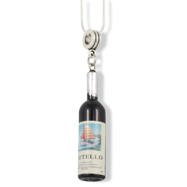 Wine Bottle Drink and Food Charm Snake Chain Necklace