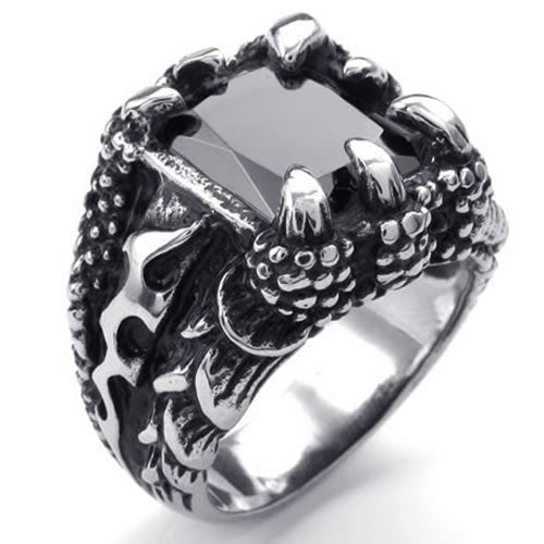 Men Crystal Stainless Steel Ring, Biker Gothic Dragon Claw, Black