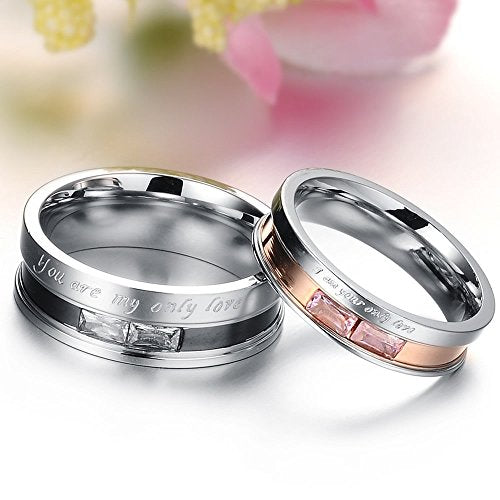 Stainless Steel Cubic Zirconia You are my only love Couples Promise Ring Men Women Wedding Band - InnovatoDesign