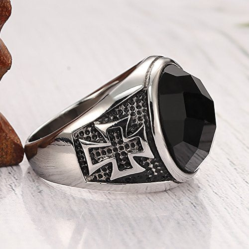 Men's Vintage Large Crystal Stainless Steel Cross Ring Band Gothic Biker Knight ,Silver Black