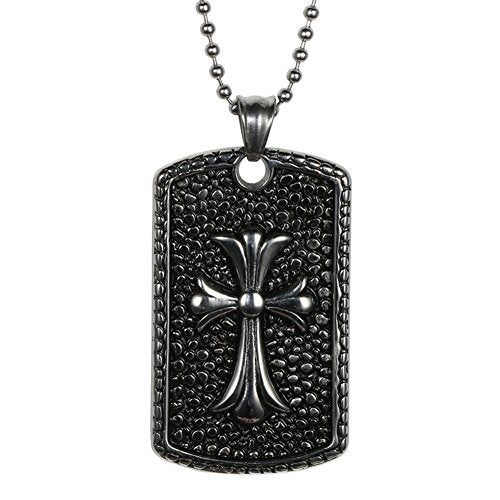 Men's Stainless Steel Mens Cross Dog Tag Pendant Necklace, Black Silver, 24 Inch in Ball Chain
