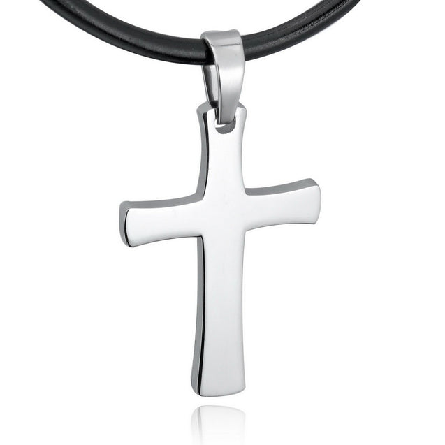 Men's Stainless Steel Leather Pendant Necklace Silver Tone Cross Adjustable -With 20 Inch Cord - InnovatoDesign