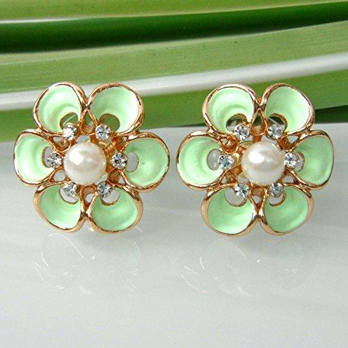 18k Gold Plated Flower Stereo Rose Light Green Enamel Clear Crystal Az2098s Stud Earrings