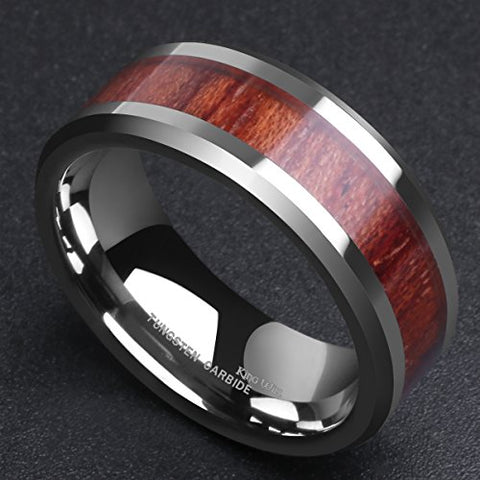 Tungsten Carbide with High Polished Wood Comfort Fit Ring
