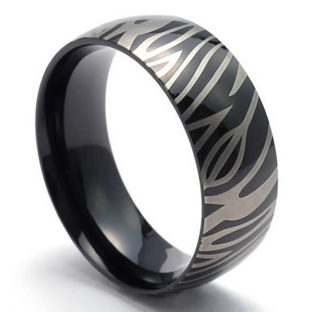 Unisex Women Men Ring, 8mm Leopard Stripe Stainless Steel Band, Black - InnovatoDesign