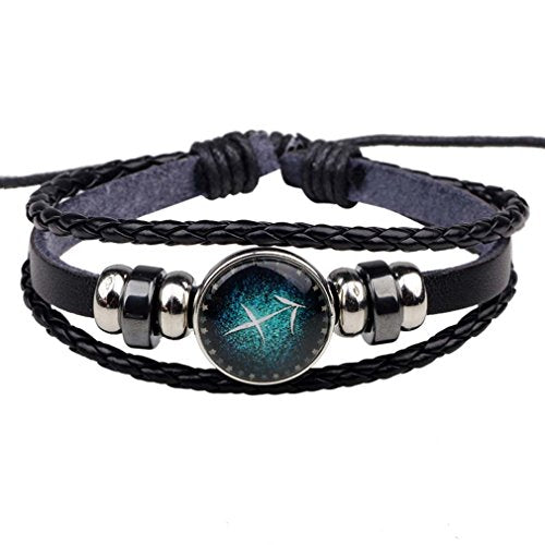 Unisex Sagittarius Charm Beads Braided Rope PU Leather Adjustable Wrap Bracelet - InnovatoDesign