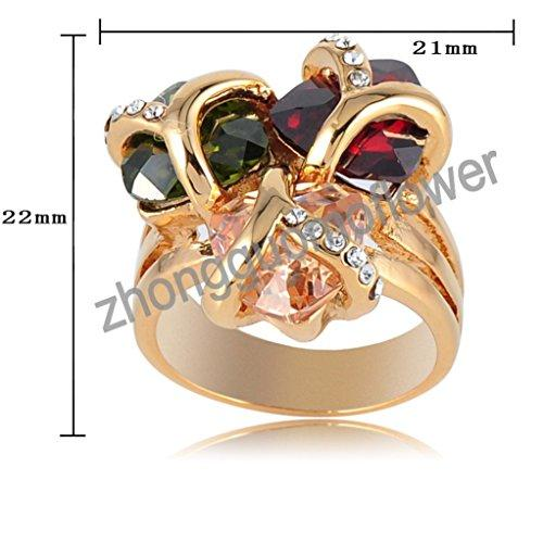 18k Gold Plated Clover Triangle Multi-color Zirconia Crystal Az0225r Ring (Available in Sizes 7 8 9)