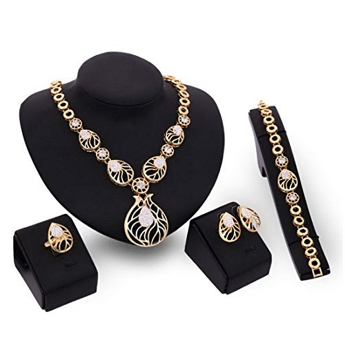 Women's Rhinestone Round Pendant Necklace and Earings and Ring and Bracelet Jewelry Sets - InnovatoDesign