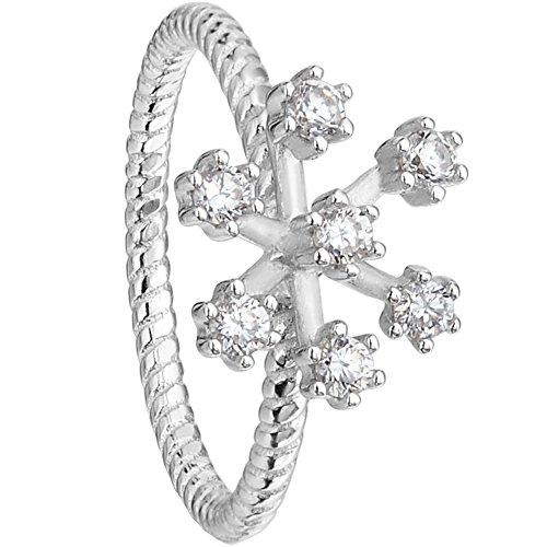 925 Sterling Silver Elegant Cubic Zirconia Winter Snowflake Flower Band Ring Clear