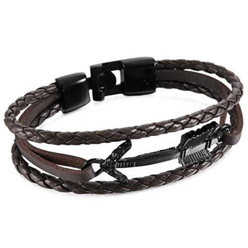 Men,Women's Alloy Genuine Leather Bracelet Bangle Cuff Black Brown Arrow Surfer Wrap Tribal - InnovatoDesign