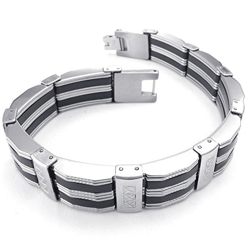 Men Stainless Steel Bracelet, Biker Link Cuff Bangle, Black Silver