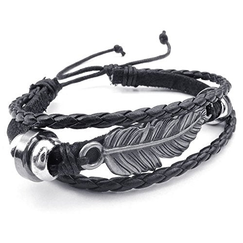 Men Women Leather Bracelet, 7-9 inch Adjustable Feather Bangle, Black Silver - InnovatoDesign