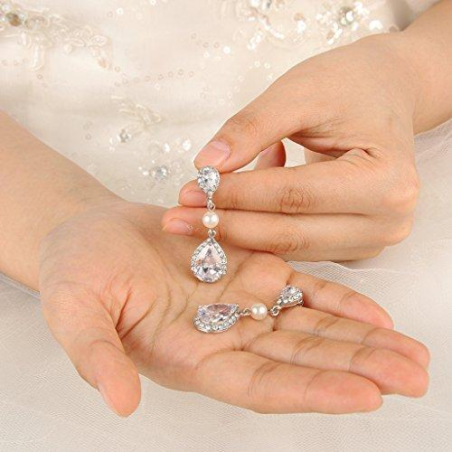 Bridal Ivory Color Simulated Pearl Drop Earring Clear Zircon Crystal