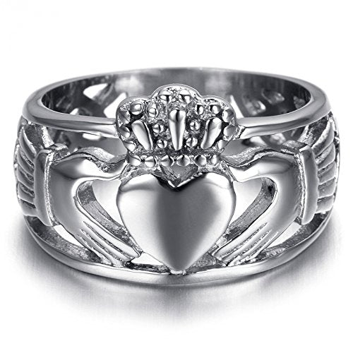 Men Stainless Steel Claddagh Ring - InnovatoDesign