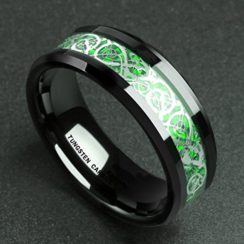 Men's 8mm Green Carbon Fiber Silver Celtic Dragon Tungsten Carbide Ring Comfort Fit Wedding Band