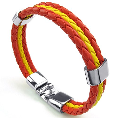 "Men Women Feather Bracelet, Spanish Spain Flag Cuff Bangle, Red Yellow, 8"" 8.5"" 9"" - InnovatoDesign"