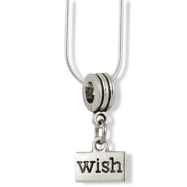 Wish on a Rectangle Inspirational Saying Charm Snake Chain Necklace - InnovatoDesign