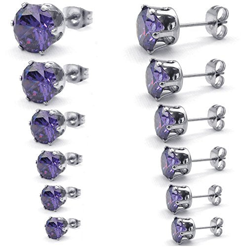 Women Cubic Zirconia Stainless Steel Round Stud Earring set, 3-8mm 6 Pairs, Purple - InnovatoDesign