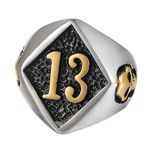Stainless Steel Punk Gothic Gold Tone Lucky No.13 Evil Skull Symbol Motorcycle Biker Epoxy Diamond Ring - InnovatoDesign