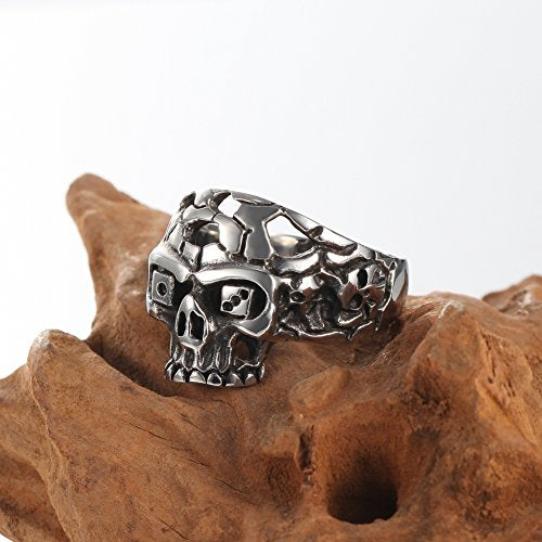 Men Stainless Steel Punk Rock Ring Bang Sliver Black Skull Biker,sizes 7-13