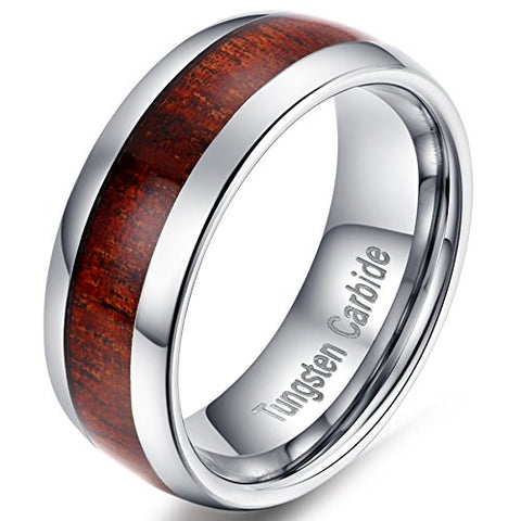 Tungsten Carbide with Wood Inlay Domed Design Wedding Band