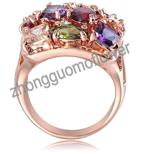 18k Gold Plated Leaves Multi-color Zirconia Crystal Az0284r Ring (Available in Sizes 5.5 7 8 9 10 11.5)