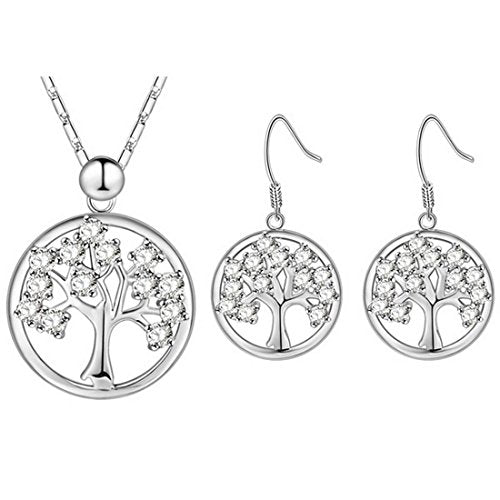 Women's 2 Pcs Silver Color Tree of Life Rhinestone Pendant Necklace Hook Earrings Jewelry Set - InnovatoDesign