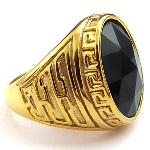 Men Crystal Stainless Steel Ring, Classic Oval, Black
