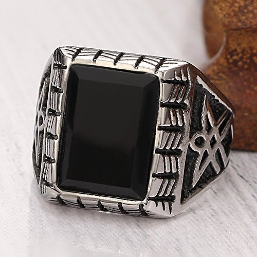Vintage Square Crystal Gemstone Ring Band Jewelry,classics Square, Black Silver