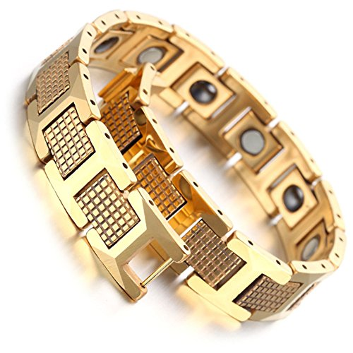 Men's Magnetic Bead Tungsten Bracelet Link Wrist Gold Tone Square,8 - InnovatoDesign